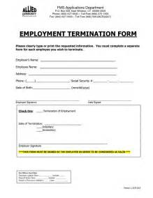 Employment Termination Form Template