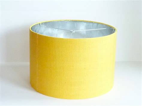 Medium Drum L Shade In Yellow Raw Silk With Silver Foil