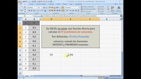 How To Make Cv For Exle by Cv Coeficiente De Variaci 243 N En Excel