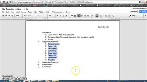 google docs outline how to format an outline on docs for argument paper