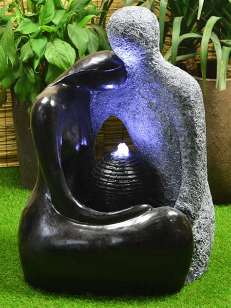 solar powered granite water feature with battery