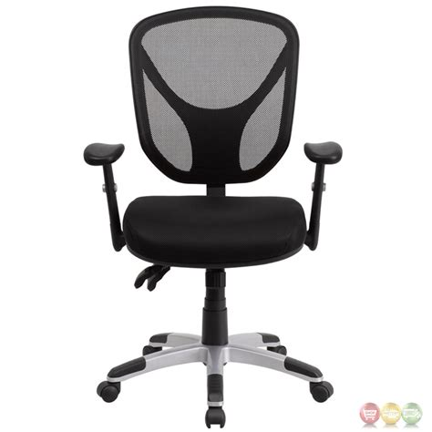 mid back black mesh swivel task chair w paddle