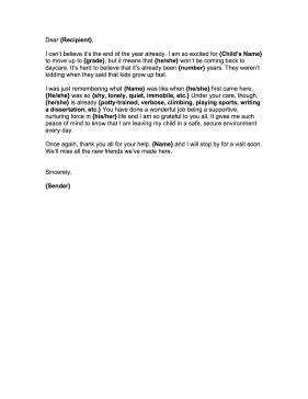 goodbye letter daycare