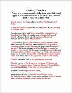 obituary template word sudden death obituary template in With obituary template word document