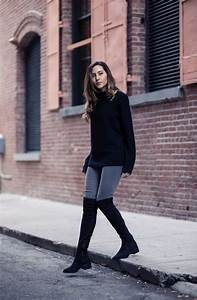 How to Wear Over-the-Knee Boots In Fall | Uniqlo jeans Skinny jeans boots and Grey skinny jeans