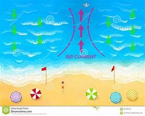 Ocean Rip Current Scheme Vector Illustration Stock Vector