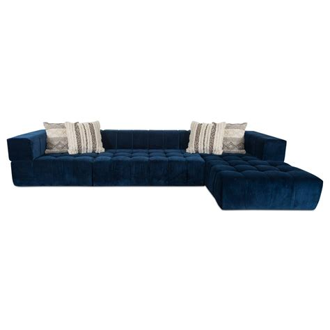chaise navy modern tufted sectional w chaise modshop modshop