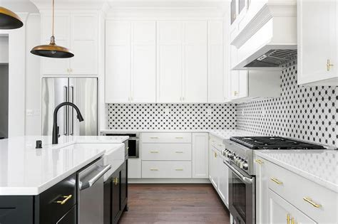 White Kitchen Sink With Stainless Steel Faucet by Gold Wood Shiplap Island Transitional Kitchen