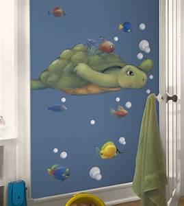 Kids bathroom decor sea turtle with tropical fish