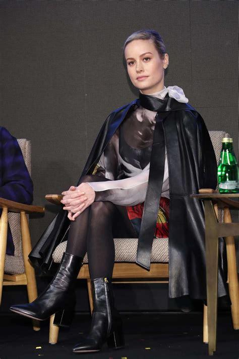 brie larson attends avengers endgame press conference