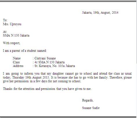 surat izin tidak masuk sekolah  bahasa inggris