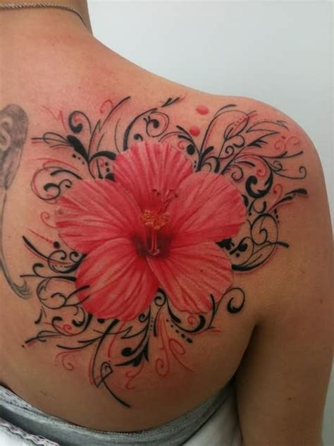 Hibiscus Large Flower Tattoo On Back