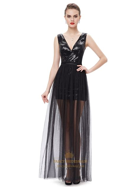 black contrast  neck sequin prom dress  detachable