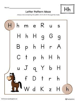 letter  pattern maze worksheet color