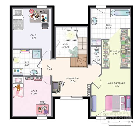 plan maison 3 chambres etage plan maison avec mezzanine l120025 rgion parisienne 170