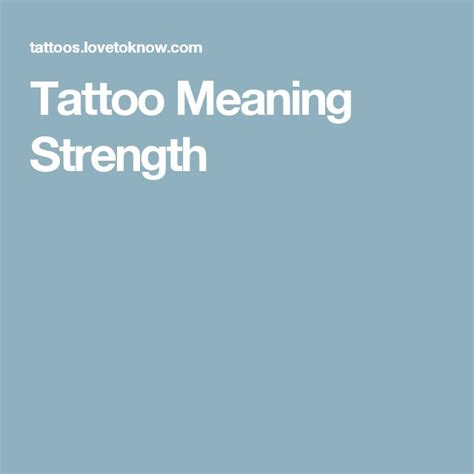 Tattoo Meaning Strength | Tattoos meaning strength