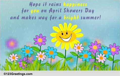 bright spring  april showers day ecards greeting