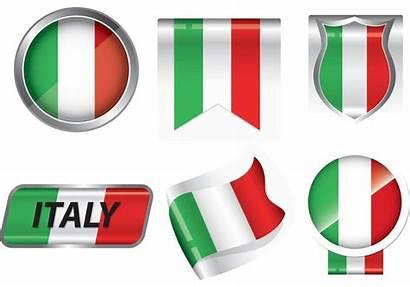 Flag Italian Flagge Italienische Clipart Badge Vectors