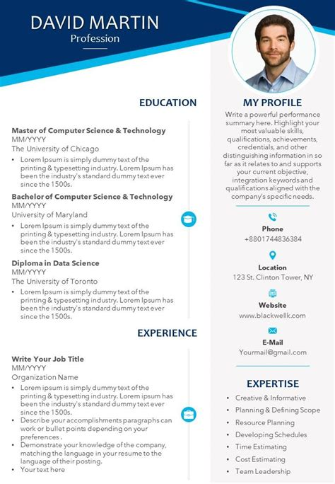 professional cv template  educational details