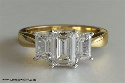 stone emerald cut diamond engagement ring ctw kt