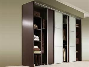 porte coulissante placard penderie aluminium bois leroy With porte de douche coulissante avec armoire penderie salle de bain