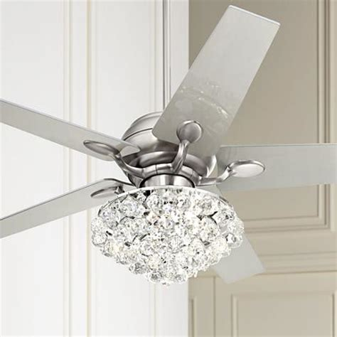 white crystal ceiling fan 52 quot casa optima brushed steel crystal ceiling fan 86646