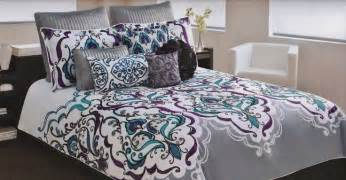 cynthia rowley scroll medallion teal purple gray blue 7 pc comforter set colors duvet