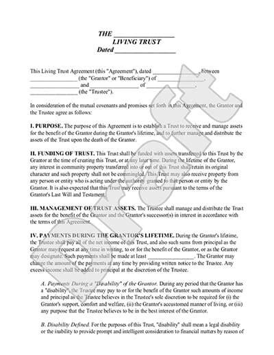 living trust template living trusts irrevocable revocable rocket lawyer