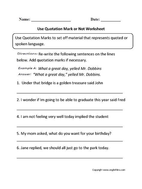 Punctuation Worksheets  Quotation Mark Worksheets