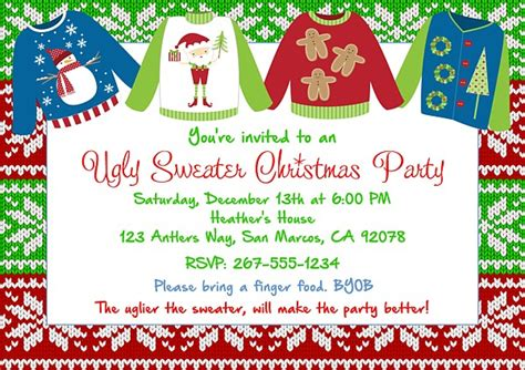 christmas party invitations ugly sweater