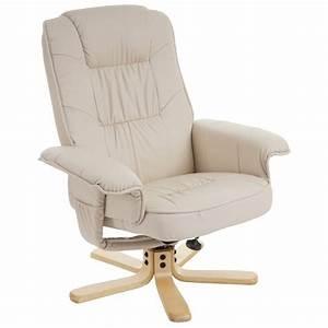 Fauteuil Pivotant Cuir : fauteuil relax en simili cuir cr me pied en bois si ge ~ Teatrodelosmanantiales.com Idées de Décoration