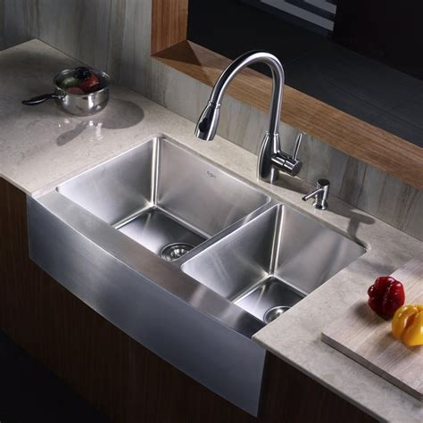 kraus khf20333kpf2130sd20 33 inch stainless steel 70 30 bowl apron kitchen sink with