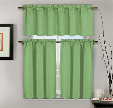 piece sage green jacquard kitchen window curtains