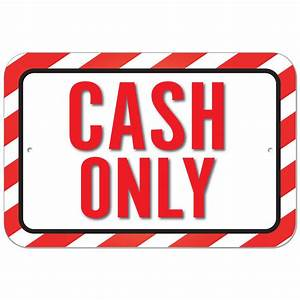 Plastic Sign Cash Only eBay