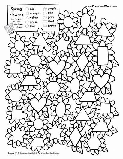 Preschool Shape Spring Printables Shapes Flowers Worksheets