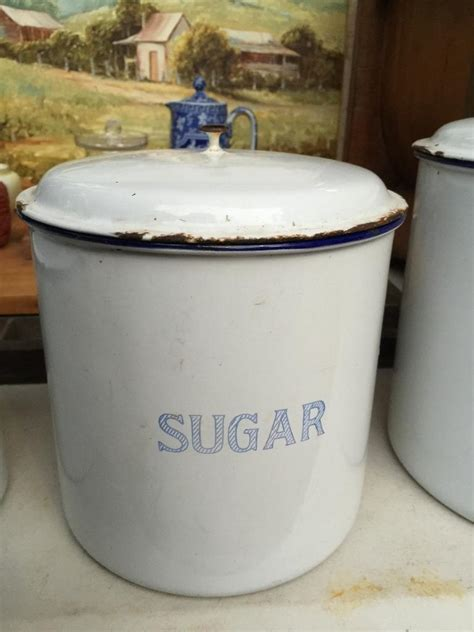 Set of 3 Vintage 1920's Enamel Kitchen Canisters Made in