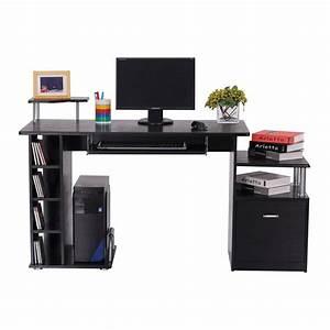 Bureau Ordinateur But : homcom bureau pour ordinateur table meuble pc informatique en mdf noir ~ Teatrodelosmanantiales.com Idées de Décoration
