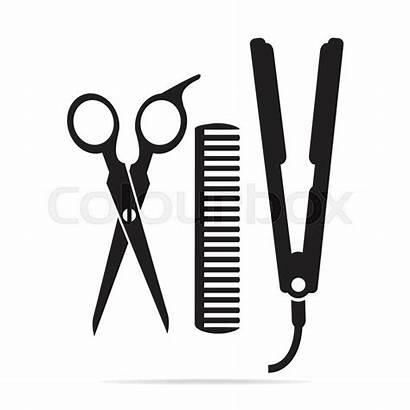 Scissors Comb Hair Iron Salon Curling Vector