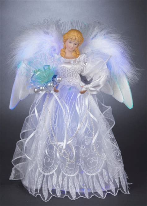 light up angel tree topper christmas decorations 12 quot white and silver led fiber