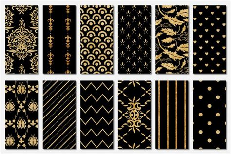 Free Patterns download Black and Gold Seamless Papers