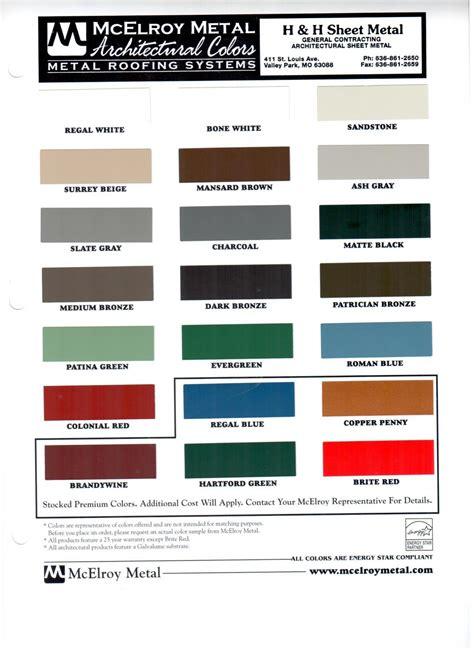 hh sheet metal color charts