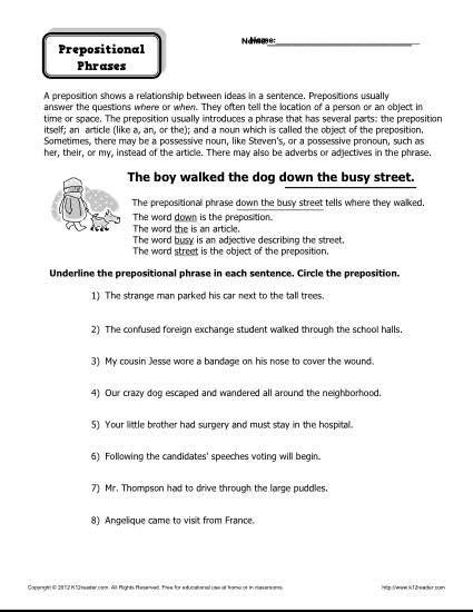 preposition worksheet prepositional phrases