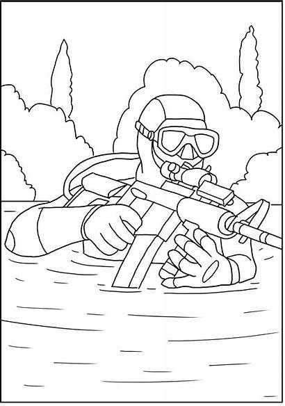 Navy Coloring Seals Military Action Books Sketches