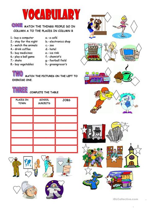 vocabulary places school jobs worksheet  esl