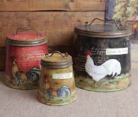 Primitive Kitchen Decor Sets shabby country chic rooster tin canister set home decor ebay