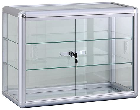 Store Display Furniture With Glass Shelves Locking Cabinet