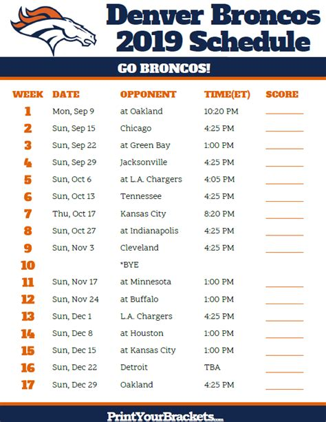 printable denver broncos schedule season