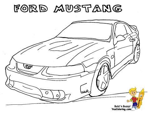 Fierce Car Coloring Ford Cars Free Mustangs T Bird