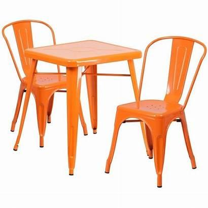 Metal Bistro Orange Furniture Flash Piece Dining