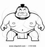 Sumo Crouching Coloring Clipart Cartoon Guy Wrestler Pages Outlined Vector Template sketch template